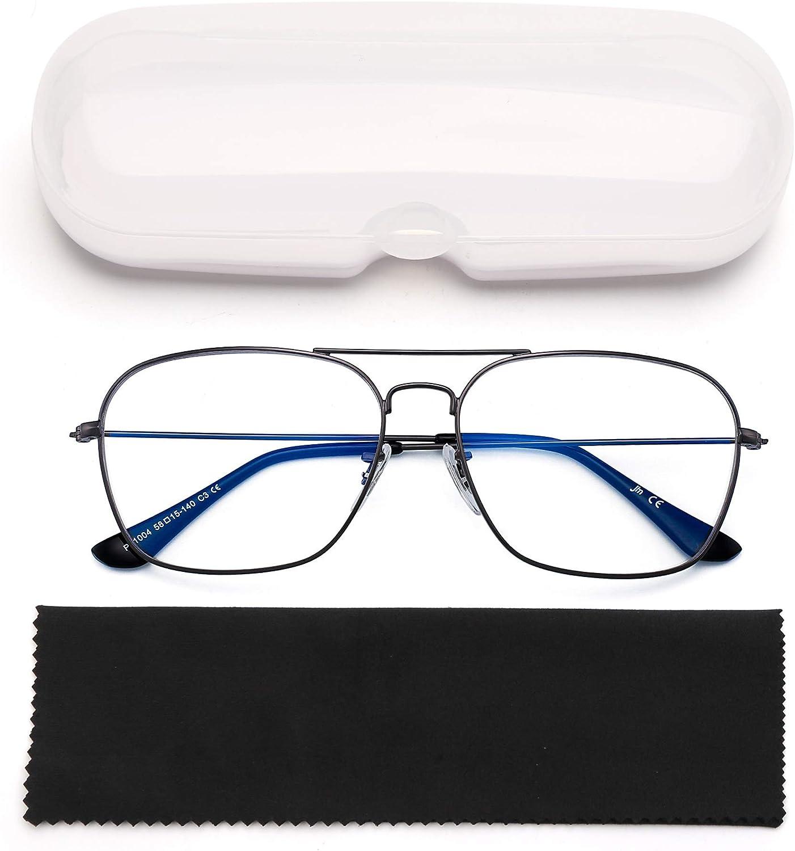 Gold Frame Clear Temple Tips Square Eye Protect Video Eyeglasses Anti Glare Men Women Aviator Blue Light Blocking Computer Glasses