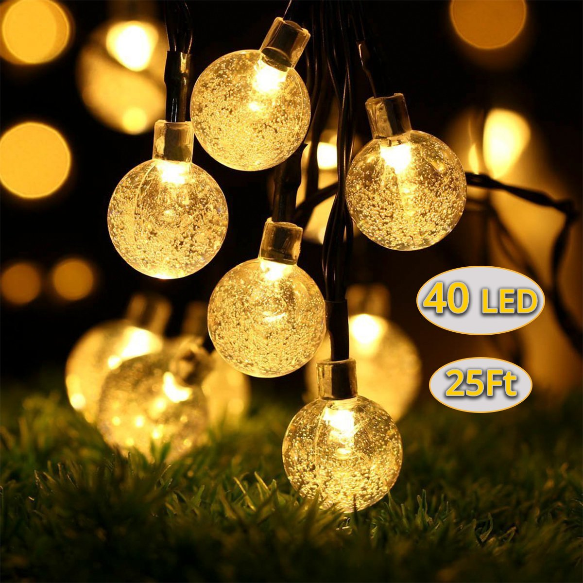 ALOVECO Solar String Lights Outdoor, 25Ft 40 LED String Lights Crystal Ball Decorative Lights Waterproof Indoor/Outdoor Fairy Lights for Garden, Home, Christmas, Parties (Warm White)