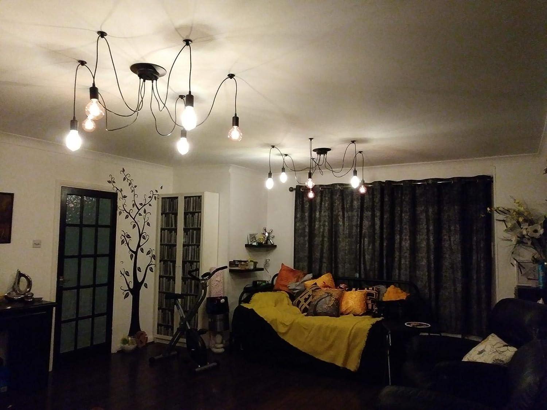 Drei K/öpfe E27 Industrieller Kronleuchter Justierbare DIY Decken Spinnen Helle H/ängende Lampe