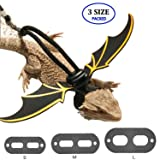 CHICKUSTORE Adjustable Bearded Dragon Harness Leash Leather, 3 Pack (Different Size S, M, L) Reptile Lizard Leash with Cool Wings for Lizard Reptiles Amphibians and Other Small Pet Animals