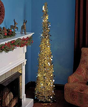 affordable collapsible 65 lighted christmas trees in goldsilver for small spaces with - Amazon Christmas Trees