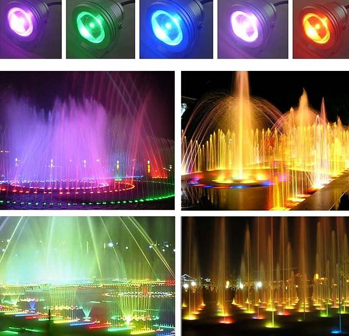 Lampada Sotto Acqua Faretto a LED Impermeabile 10W RGB a 16 colori DC12V Green House Telecomando