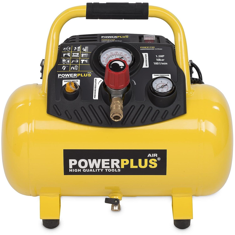 Varo - Compressore senza benzina, con pressione di 8 o 10 bar, serbatoio di varie dimensioni 6-50 litri, Giallo 1100.00 wattsW, 230.00 voltsV Powerplus X1721