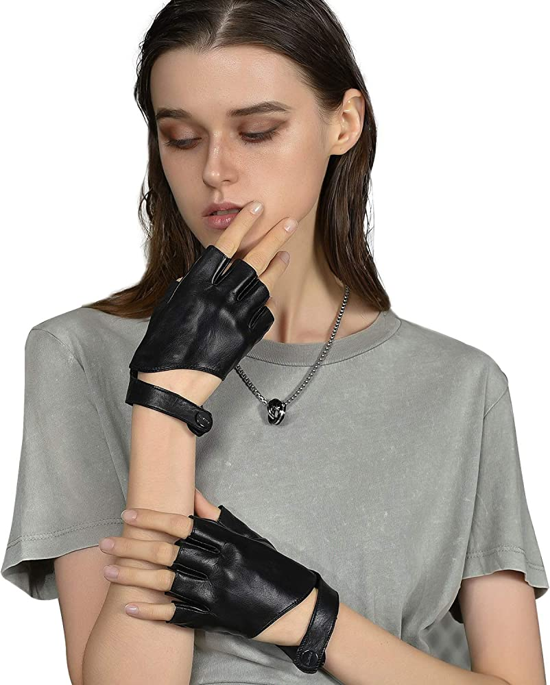 FIORETTO Snake Textured Leather Fingerless Gloves Womens Unlined Half Finger Printing Leather Driving Gloves for Ladies Luxury Half Palm Opera Gloves Black Blue Green