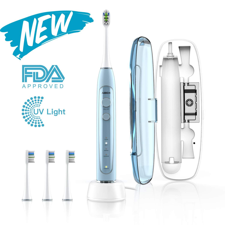 ABOX Cepillo de dientes eléctrico, cepillo de dientes sónico con 4 modos,3 cabezales