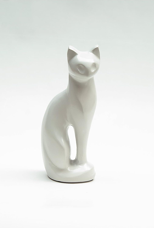 Kronos - Urne cinéraire en bronze blanche en forme de chat - Dim : Cm 10,0 x h Cm 23,5; Vol. lt 0,5