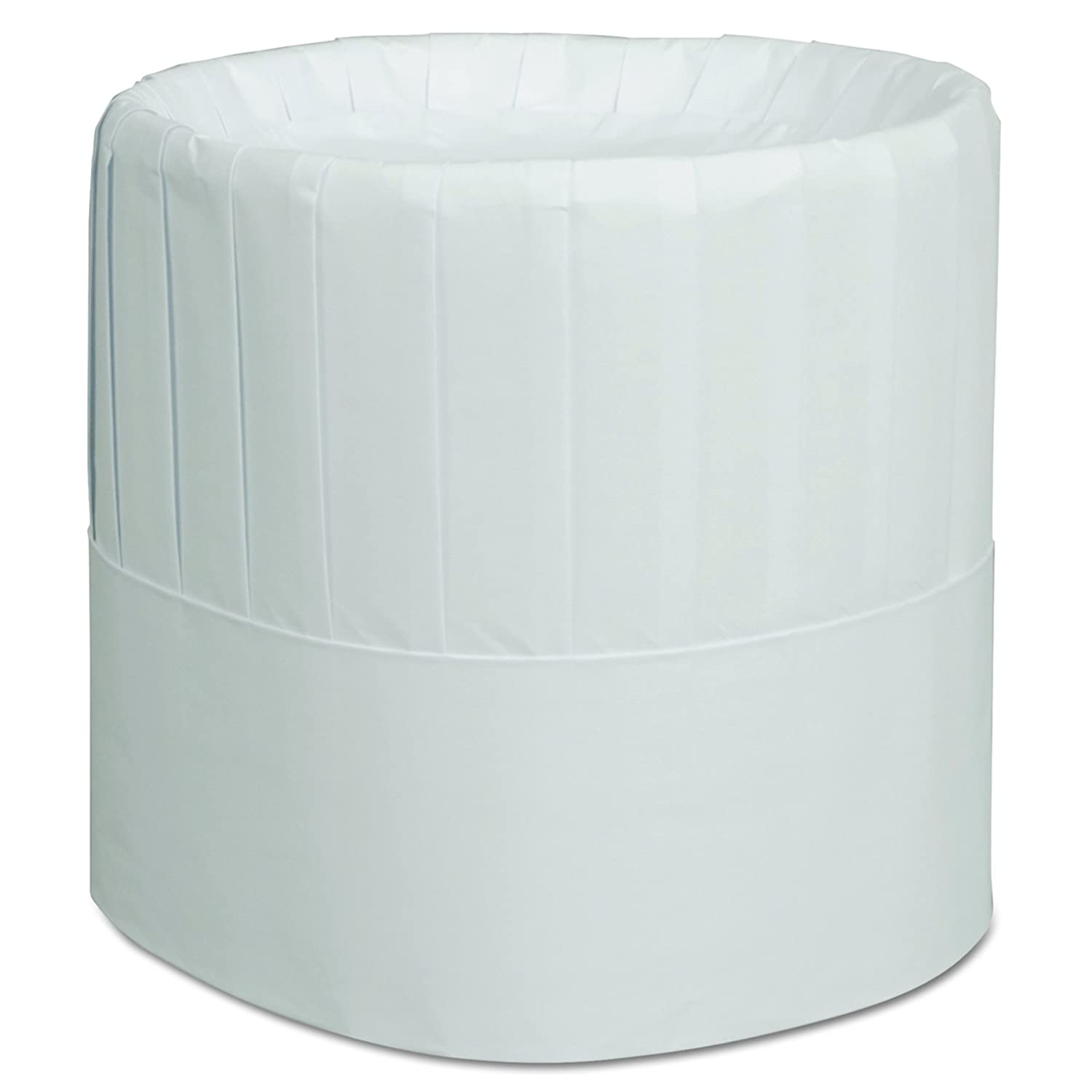 Case of 28 Tall Royal RCH7 Pleated Chefs Hats Adjustable White Paper 7 in