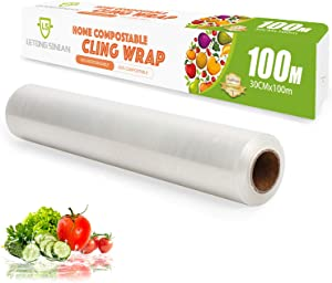 Biodegradable Plastic Wrap for Food, Compostable Cling Wrap with Slide Cutter, 328 Square Foot Roll, BPA Free Plastic Wrap (Pack of 1)