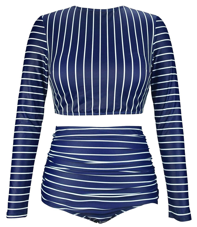 FBA CSF416 COCOSHIP Womens Long Sleeve Swim Shirt Rash Guard Top Tankinis Set High Waist Bathing Swimsuit