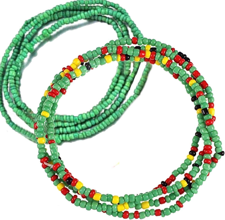 Bikini Jewelry for Woman Girl Colorful Waist Bead African Waist Bead Tuoshei 2 Piece Summer Jewelry Waist Bead Set Beaded Belly Chain Belly Bead Body Chain Coffee