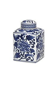 Imax 89829 Toll Mache Small Lidded Jar - Handcrafted Ceramic Canister, Lidded Kitchenware, Modern Decorative Jar. Home and Kitchen