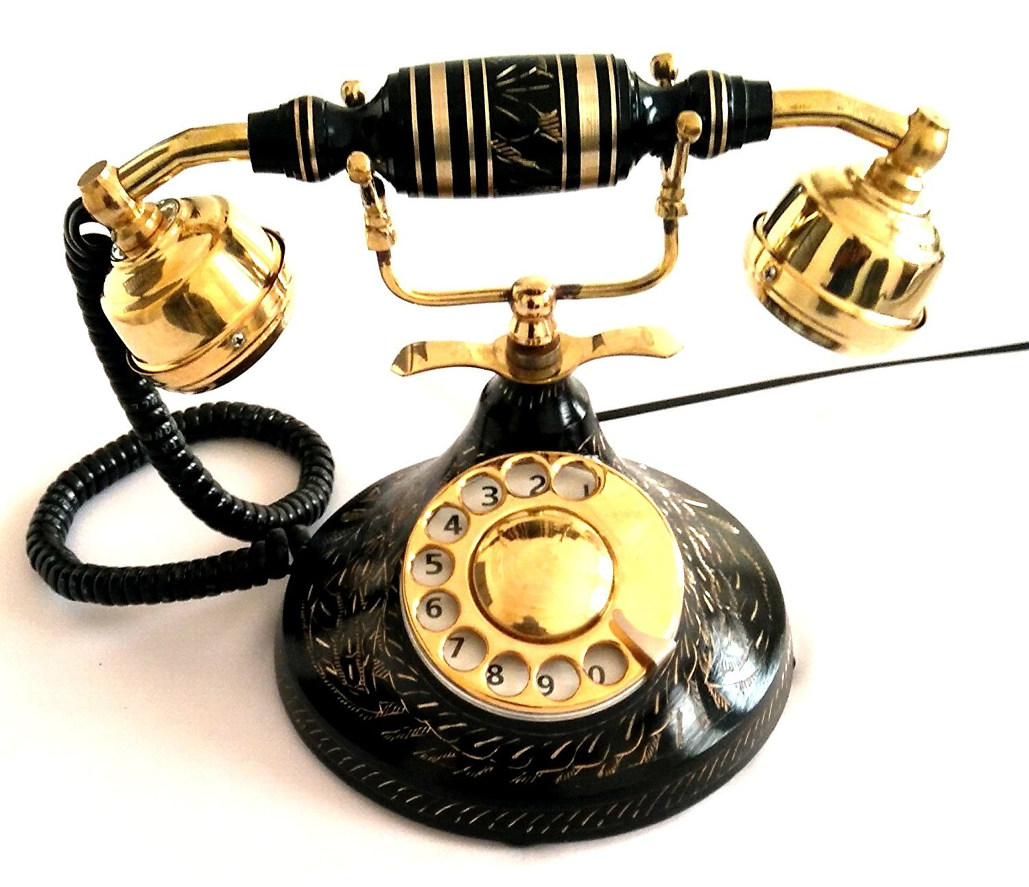 Artshai black antique finish landline telephone with rotary dial