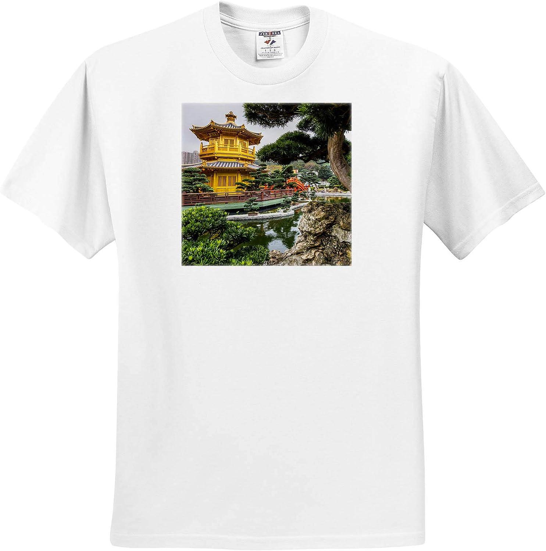3dRose Pagoda at The Chi Lin Nunnery and Nan Lian Garden, Hong Kong, China. - T-Shirts (ts_329483)