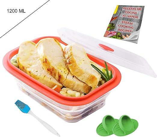 Crisolux Estuche Vapor microondas Silicona vaporera microondas Papillote para cocinar al Vapor Lavado facil al lavavajillas (3-4 Personas 1200ml): Amazon.es: Hogar