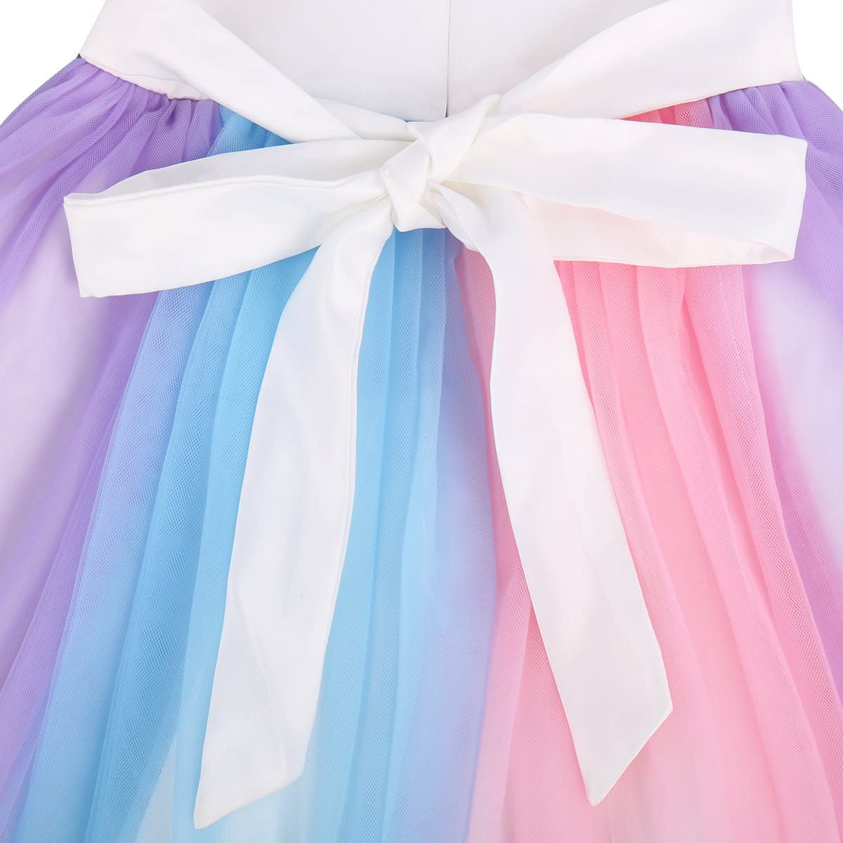 OBEEII Kids Unicorn Rainbow Dress Cosplay Party Costume Fairy Fancy Dress Princess Tutu Skirt for Birthday Carnival Hallowee 1-7 Years