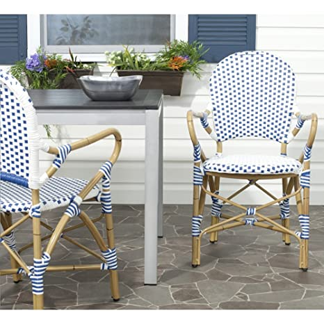 Magnificent Safavieh Home Collection Hooper Blue White Indoor Outdoor Stacking Arm Chair Gmtry Best Dining Table And Chair Ideas Images Gmtryco
