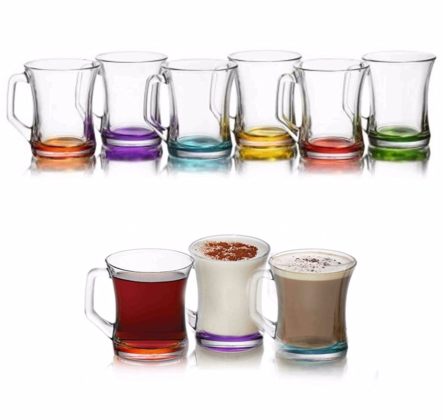Coloured Set Of 6 Glasses Tea Coffee Cappuccino Cups Hot Drink Mugs Gift bmonline