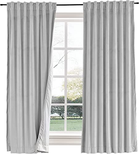 Curtains Your Way Velvet Blackout Back Tab Curtain 50 x 120 Thermal Insulated Drape Blocks up to 99 of Light and Helps Regulate Room Temperature