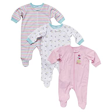 cb9a80807 Amazon.com  Gerber Girls  3 Pack Assorted Zipper Front Sleep N  Play ...