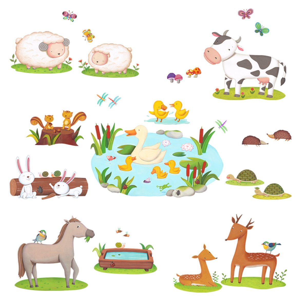 Decowall DW-1403 Field of Animals Kids Wall Stickers Wall Decals Peel and Stick Removable Wall Stickers for Kids Nursery Bedroom Living Room