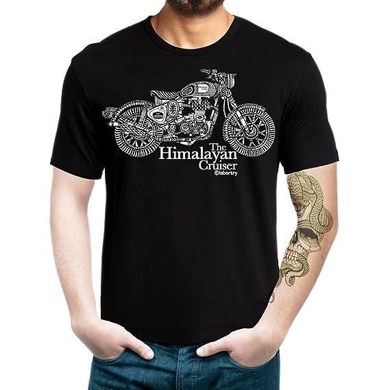 66443d2cb Labartry Men's Round Neck Artist Tshirt 'The Himalayan Cruiser' (Black, ...