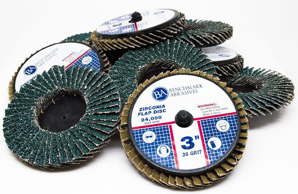 Benchmark Abrasives 3'' Quick Change Roloc Zirconia Flap Discs - 10 Pack (60 Grit)