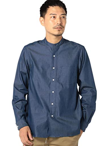 Chambray Band Collar Shirt 111-18-0077: Blue