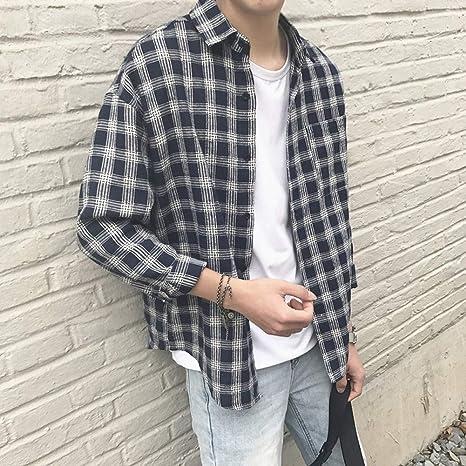 MDLJY Camisas 2019 Coreano de algodón Vestir Moda Streetwear Primavera Verano otoño Camisa a Cuadros Delgada de Gran tamaño para Hombres de Manga Larga: Amazon.es: Deportes y aire libre