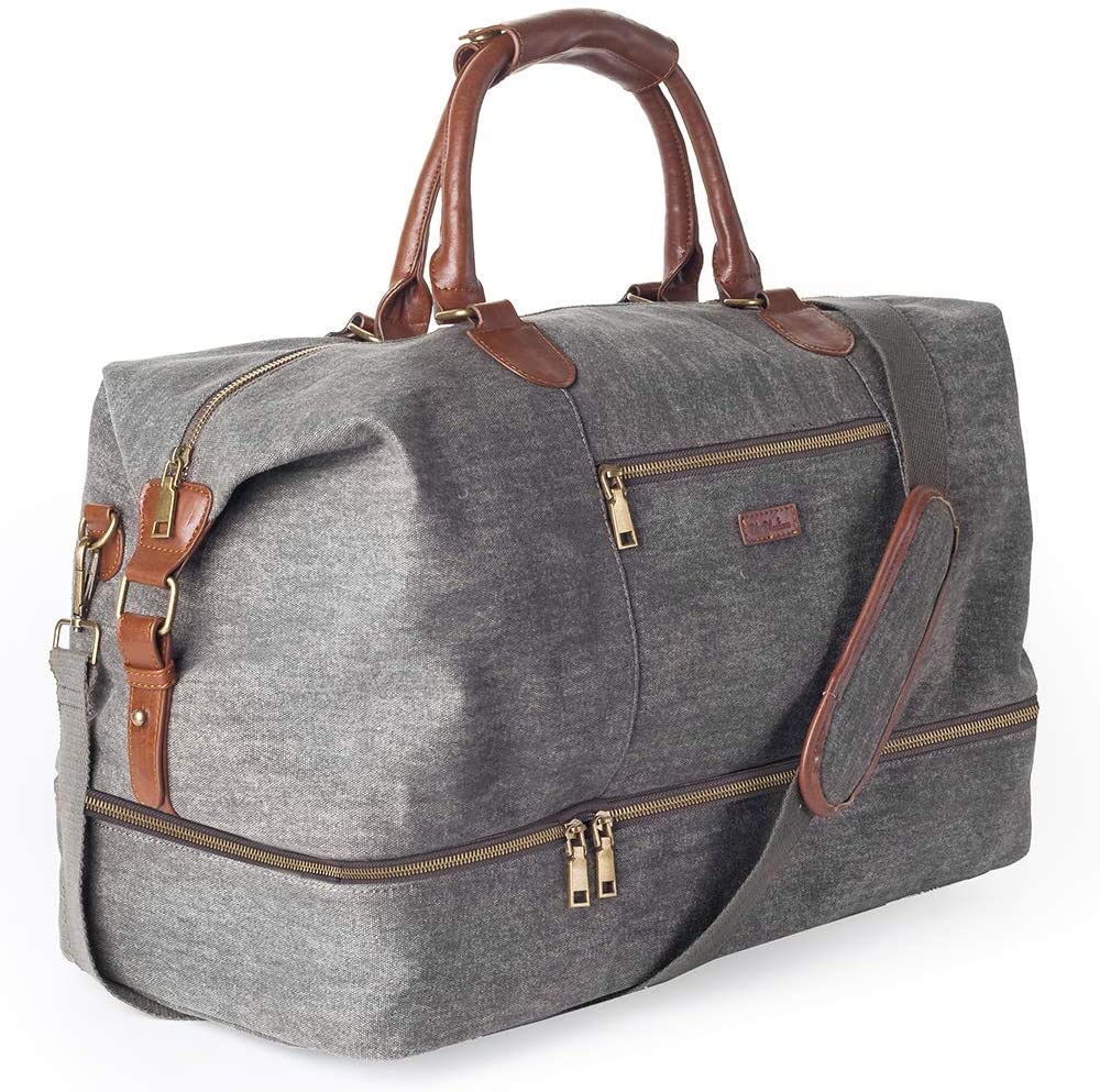 Canvas Travel Tote Luggage Men s Weekender Duffle Bag with Shoe compartment Dark Grey
