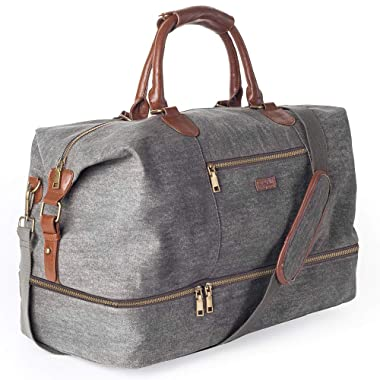 MyMealivos Canvas Travel Tote Luggage Men's Weekender Duffle Bag with Shoe compartment (Dark Grey)