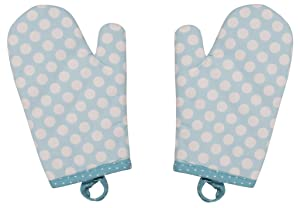 Handstand Kitchen Child's 100% Cotton Shell Pretty Polka Dot Pair of Oven Mitts