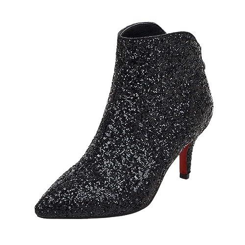 51ad447495 Coolulu Womens Stiletto Kitten Heel Glitter Ankle Boots High Heel Booties  with Zip Pointed Toe Elegant
