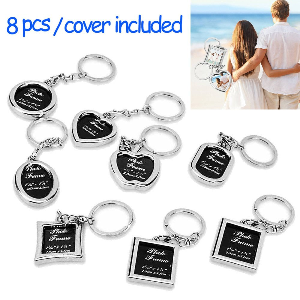 """Photo Frame Keychain Set - Protective Cover Included 8 Pieces Different Shapes Metal Personalized Picture Frame Key Holder, Cool Gift for Boyfriend Lover Dad Mum Grandpa by """"wonder X"""""""