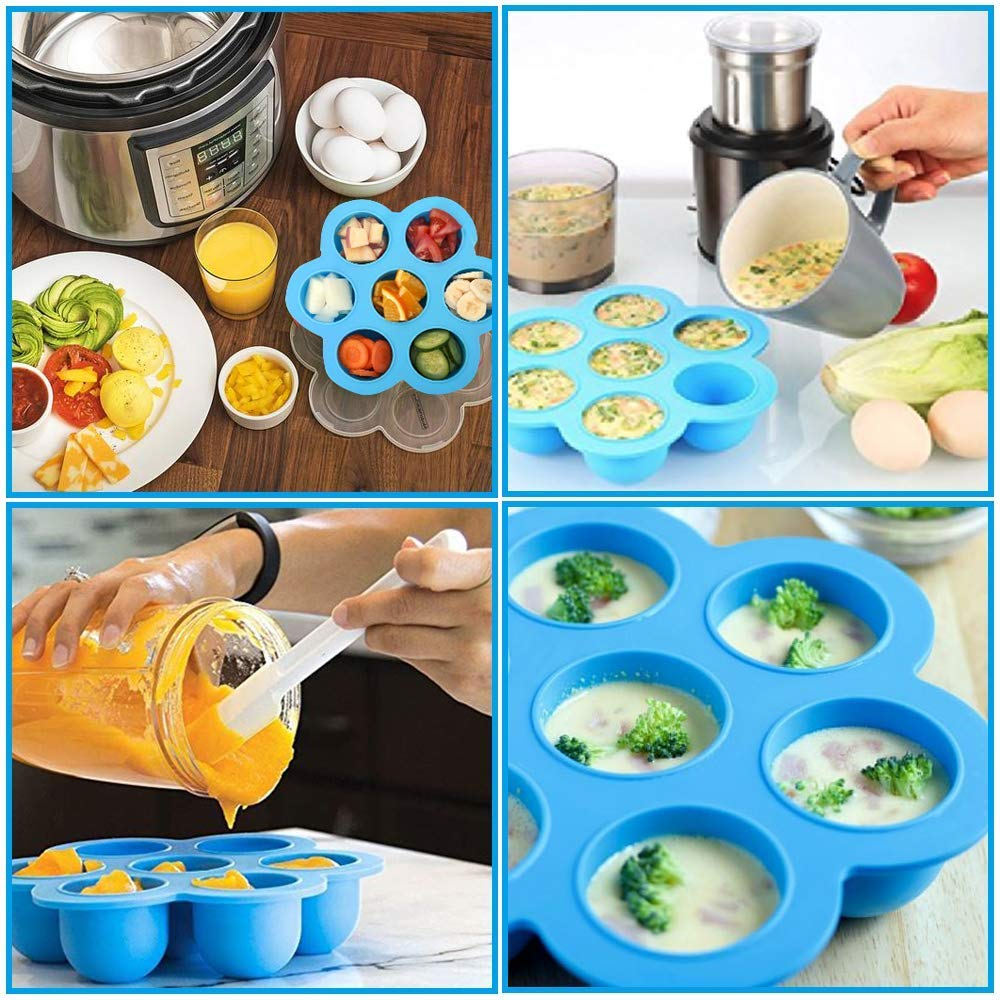 Silicone Egg Cooker Fits Instant Pot 5,6,8 qt Pressure Cooker Egg Bites Mold Set of 4 Steamer Rack with Heat resistant Handle and Spoon