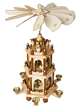 Christmas Pyramid 18 Inches Nativity Play - 3 Tier Carousel with 6 ...
