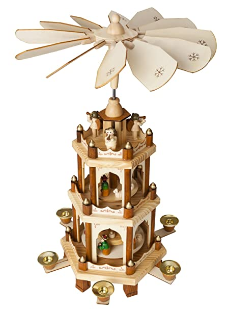 christmas decoration pyramid 18 inches nativity play 3 tier carousel with 6 candle holders brubaker - Christmas Candle Holders Decorations