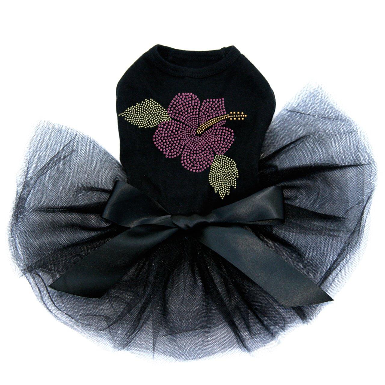 Large Pink Hibiscus - Bling Rhinestone Dog Tutu Dress, 3XL Black