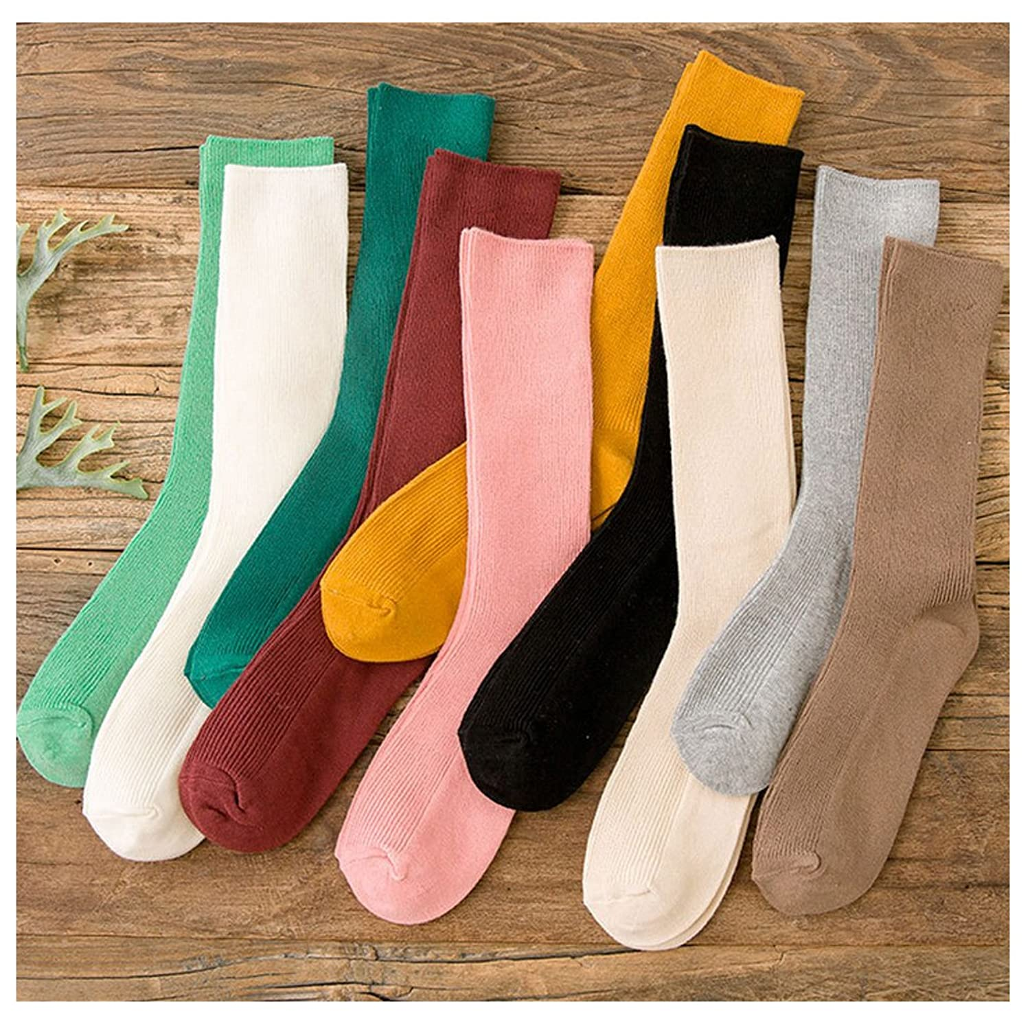 10-Pack Janpanese Style Womens Stretch-Cotton Ribbed Knit Crew Boot Socks,Multicolor