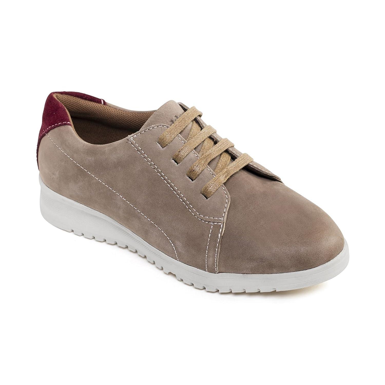 Padders cuero de las mujeres del zapato 'Re Run'   con sistema de ajuste anchura doble   Gran Anchura adicional EE-EEE   30 mm del talón del talón  Cuerno de zapato libre 38 EU Taupe Combi