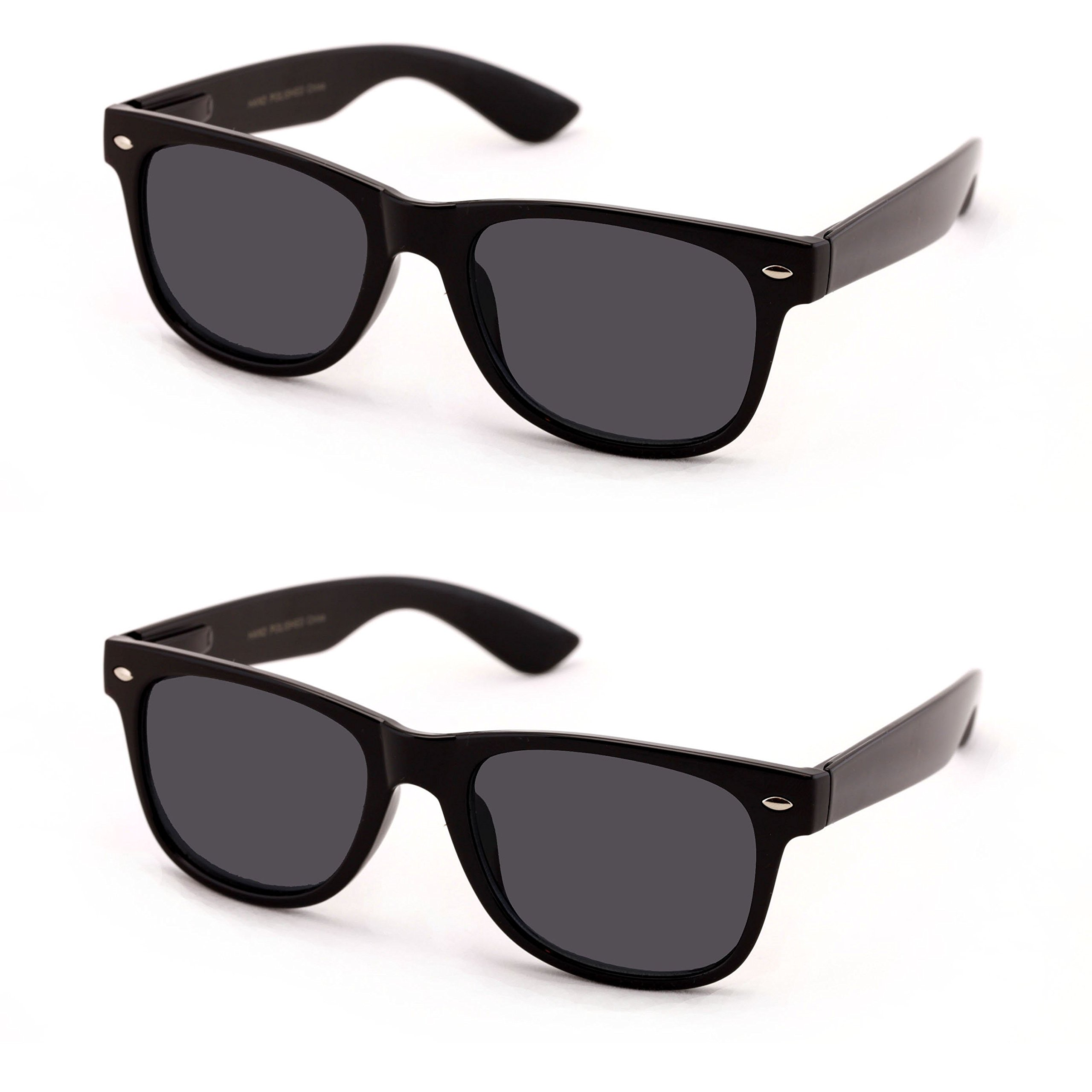 V.W.E Classic Outdoor Reading Sunglasses - Comfortable Stylish Simple Readers Rx Magnification - Not Bifocal (2 pairs black frame black lens, +1.50)