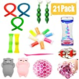 21 Pack Sensory Fidget Toys Set Liquid Motion Timer/Grape Ball/Flippy Chain/Stretchy String/Squeeze-a-Bean Soybeans/Slime/Mesh & Marble/Mochi Squishy for ADHD Autism Stress Anxiety Relief Adult Kids