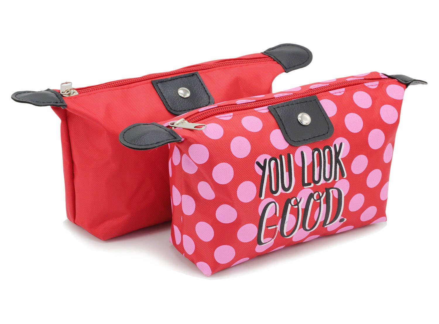 Cosmetic Bags Travel Toiletry Pouch - 2Pack WaterProof Portable Makeup Bags with Zipper Red