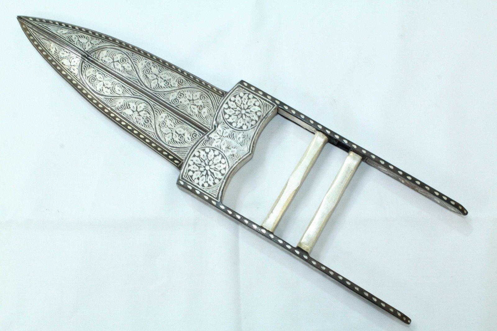 Rajasthan Gems Silver Wire work , Damascus Steel Blade Dagger , Scissor Knife Antique