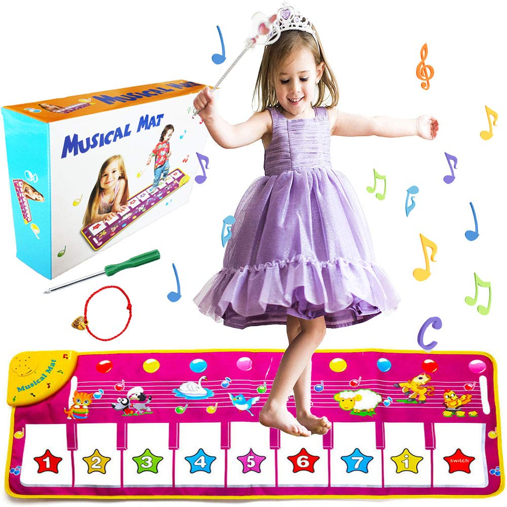 """V Convey 39/""""X14 Piano Keyboard Kids Music Mat Toddler Floor Animal Interactive Mat Toys Baby Early Education Music Carpet Animal Blanket Touch Play Safety Learn Kids Electronic Singing Dancing Toy"""