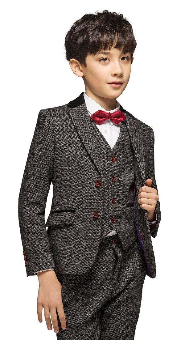 ELPA ELPA Boys Slim Fit 6 Piece Suit Wool Formal Dress Set