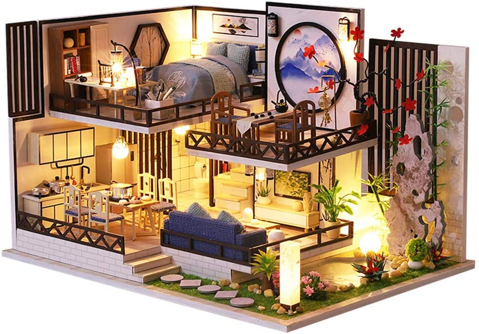 CUTEBEE Dollhouse Miniature with Furniture, DIY Wooden Dollhouse Kit Plus Dust Proof and Music Movement, 1:24 Scale Creative Room Idea (Bamboo Fragrance)
