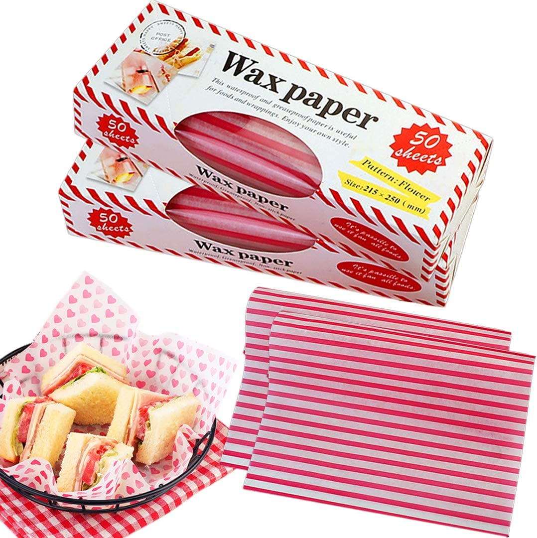Zezzxu Wax Paper Food Picnic Paper, 100 Sheets Grease Proof Paper Waterproof Dry Hamburger Paper Liners Wrapping Tissue for Plastic Food Basket (Stripe pattern)