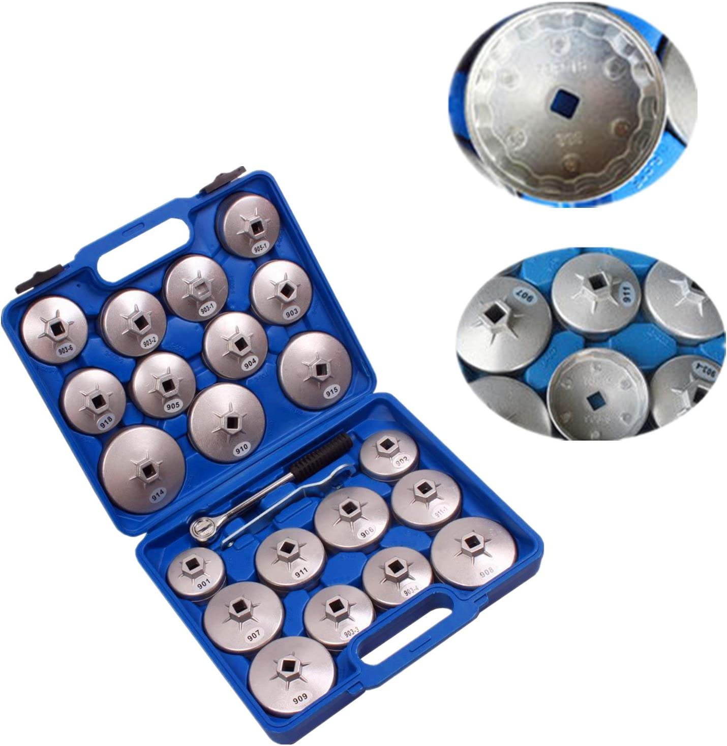 23pcs Aluminum Alloy Cup Type Oil Filter Cap Wrench Socket Removal Tool Set 1//2 dr with a Storage Case