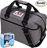 AO Coolers Canvas Series Soft Cooler with High-Density Insulation, Size 12-Can, 14 Qt. - #AO12CH - Charcoal & Fit & Fresh Cool Coolers Slim Ice 4-Pack (Bundle)