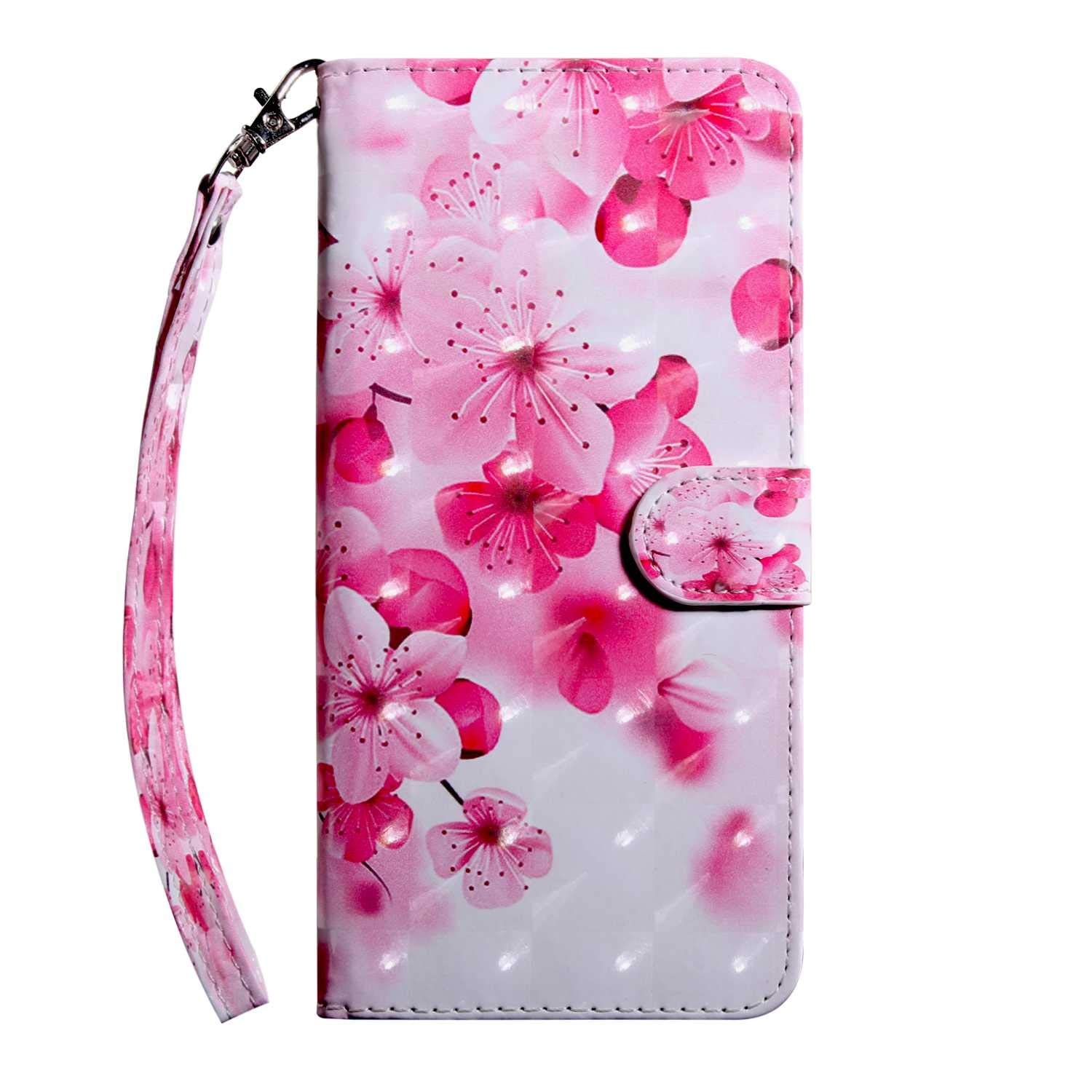 Xiaomi MI 5X Case CUSKING Magnetic Wallet Case for Xiaomi MI 5X [Card Slot] [Hand Strap] [Flip Case] [Easy to Clean] Full Body Proective Case - Cherry Blossoms